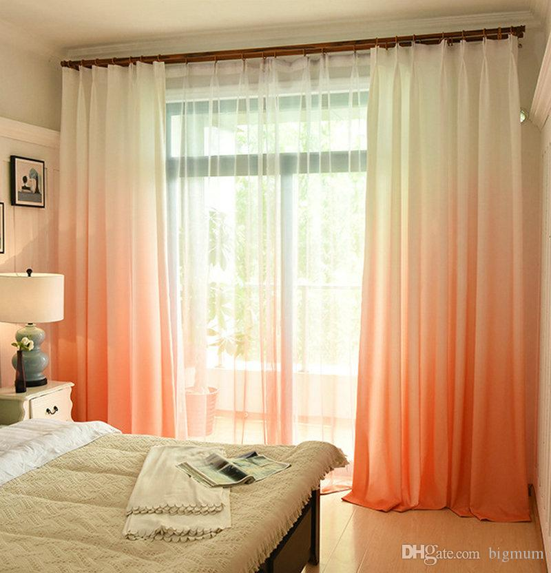 Solid Color Rainbow Summer Curtain for Living Room Bedroom Window Modern Sheer Voile Panels Printed 100 Polyester Drape Decoration