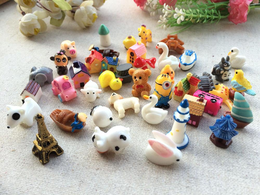 Artificial Kawaii Cartoon Animal house Resin Craft mix resina cabujones Decoración para el hogar Micro Landscape fairy garden miniaturas accesorios