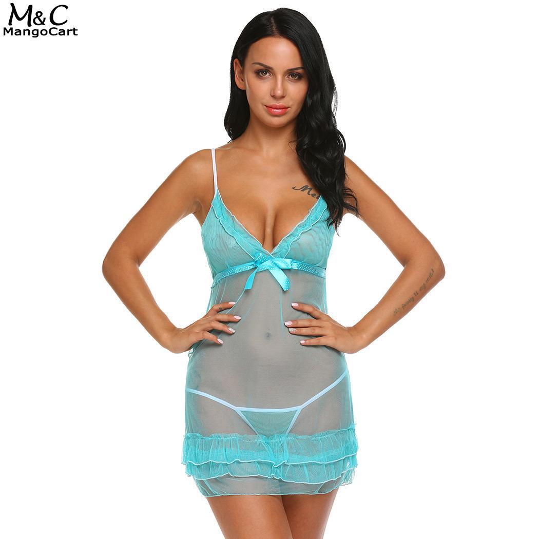 2c56476fe 2019 Nightwear Sexy Mesh See Through Halter Lace Women Babydoll Lingerie  Set With G String From Cupidcloth
