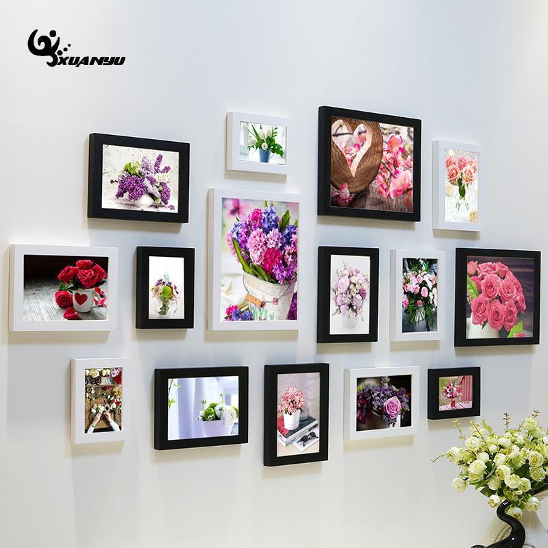 2018 Modern Style Photo Frame Living Room Flower Painting Wall ...