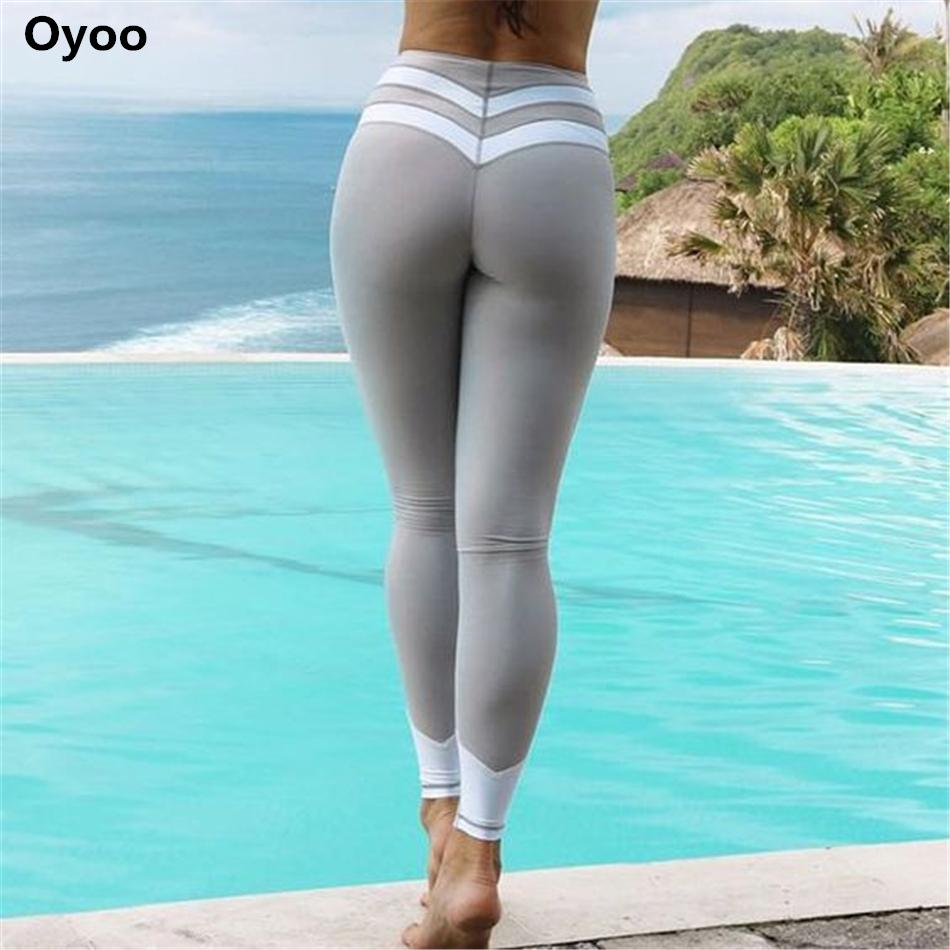 f3d8f95fc2f Oyoo curve contrast stripes black&white gym athletic leggings sexy grey  fitness yoga pants running tights women workout clothes