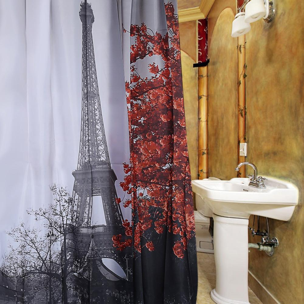 2018 Waterproof Polyester Shower Curtain Cityscape Grey Paris Eiffel Tower Red Maple Pattern With 12 Plastic Hooks From Xuxiaoniu5 1746