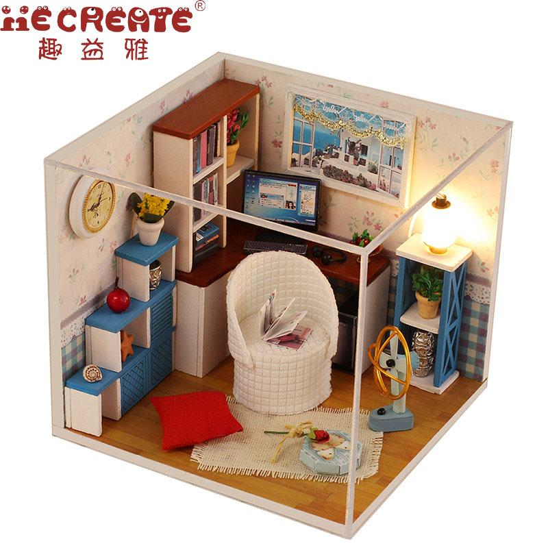 Assemble Diy Doll House Toy Wooden Miniatura Doll Houses Miniature