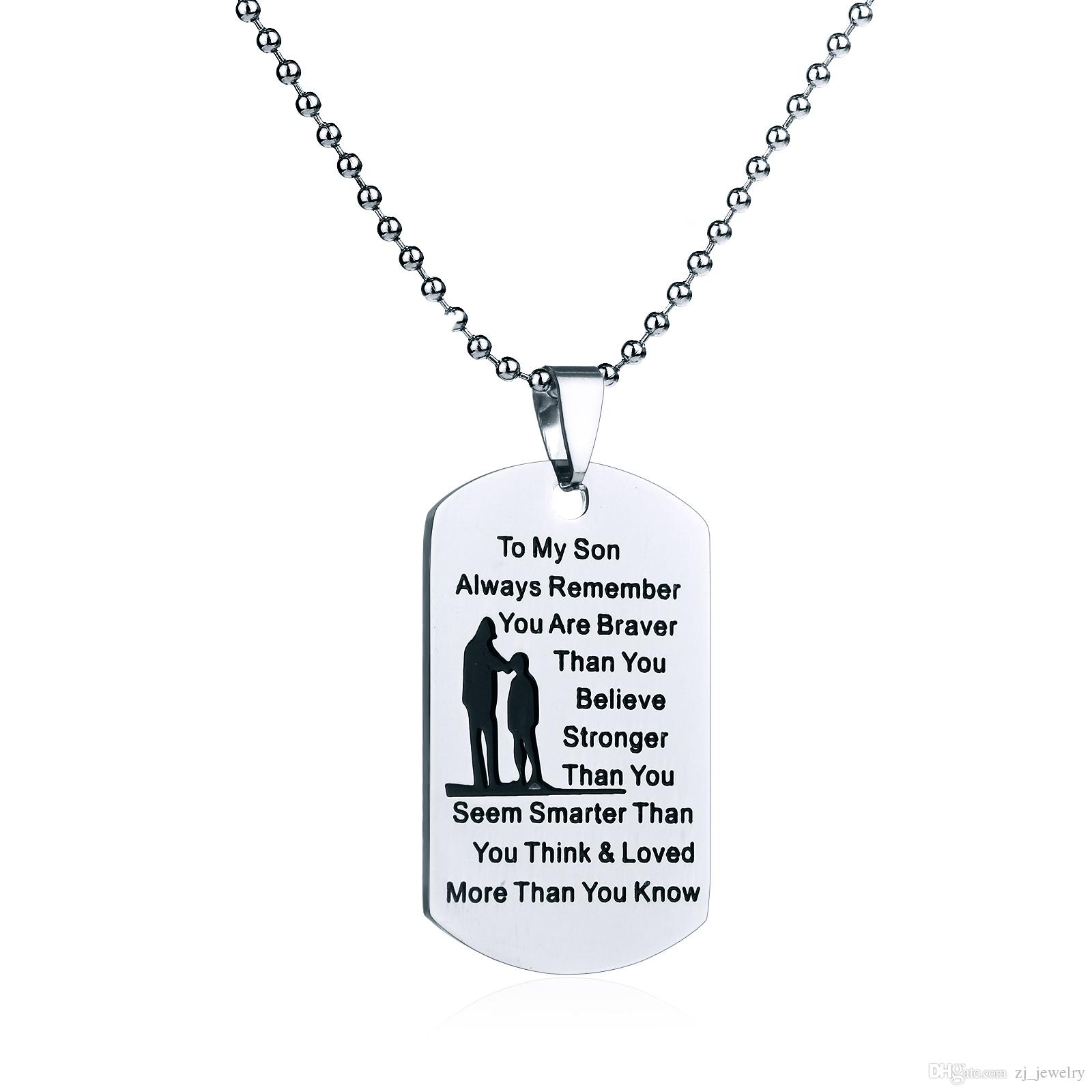 01392766421 Hand Stamped Dad Son Dog Tag Necklace Military Mens Boy Jewelry Always  Remember You are Braver Stronger Than You Believe Pendant Birthday Gi