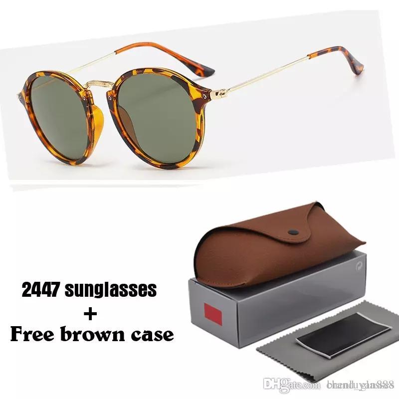 5d96899e5 Compre Marca Designer 2447 Óculos De Sol Redondos Para Homens E Mulheres  Retro Esportes Óculos De Sol Das Mulheres Dos Homens Uv400 Lentes Oculos De  Sol Com ...