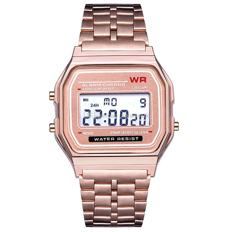 Retail Sports LED Uhr Mode Gold Digitaluhren Stahlgürtel Thin Electronic Armbanduhr Armband Businessuhren