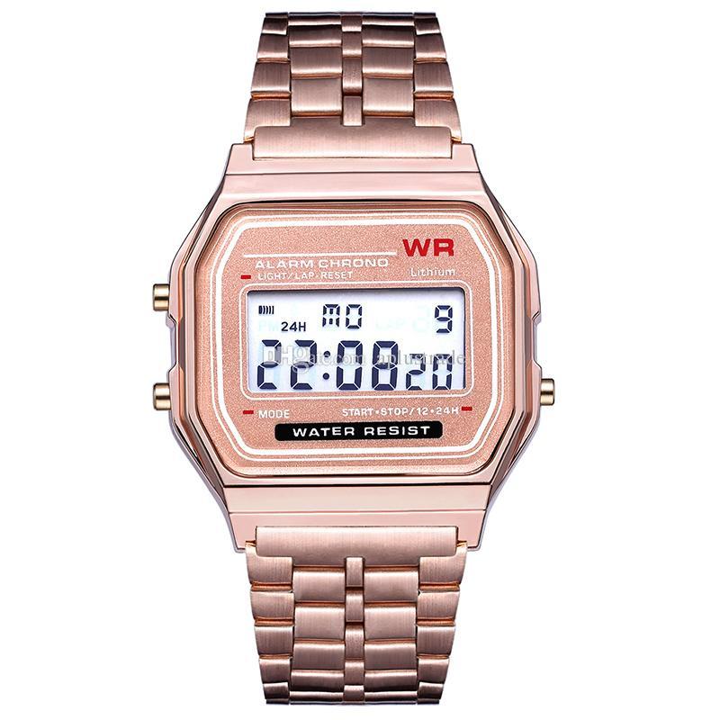 Venta al por menor F-91W Sports LED Wach Relojes de oro de lujo F-91W Correa de acero Reloj electrónico delgado f-91w Relojes