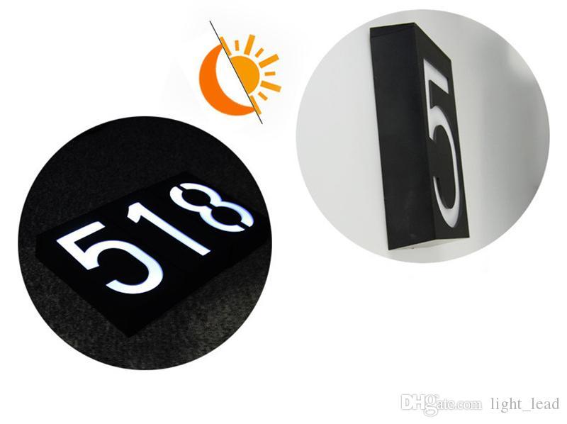 الصمام الخفيفة للطاقة الشمسية 6 الصمام جدار جبل إضاءة Doorplate مصباح البيت رقم الإضاءة في الهواء الطلق أضواء الشرفة مع البطارية الشمسية