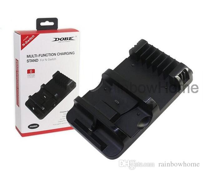 Multifunktionsladdningsdocka Station Game Card Box Förvaringshållare för Switch Joy Con Pro Controller USB Typ C laddare Stativ konsol