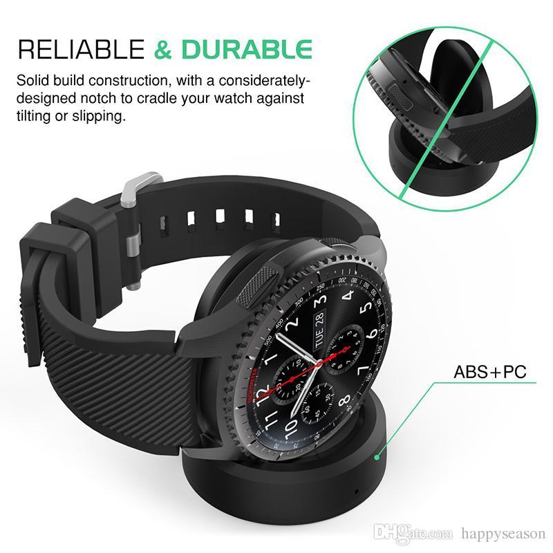 Cargador inalámbrico con base de carga para Samsung Gear S3 Reloj inteligente clásico con cable USB de 0.7 m Paquete al por menor sin calefacción