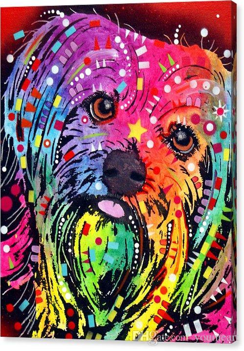YOUME SANAT Giclee Hayvan yorkie-dean birleştirmek için dürtü yağlıboya sanat ve tuval duvar dekorasyon sanat Tuval Üzerine Yağlıboya 60X76 cm