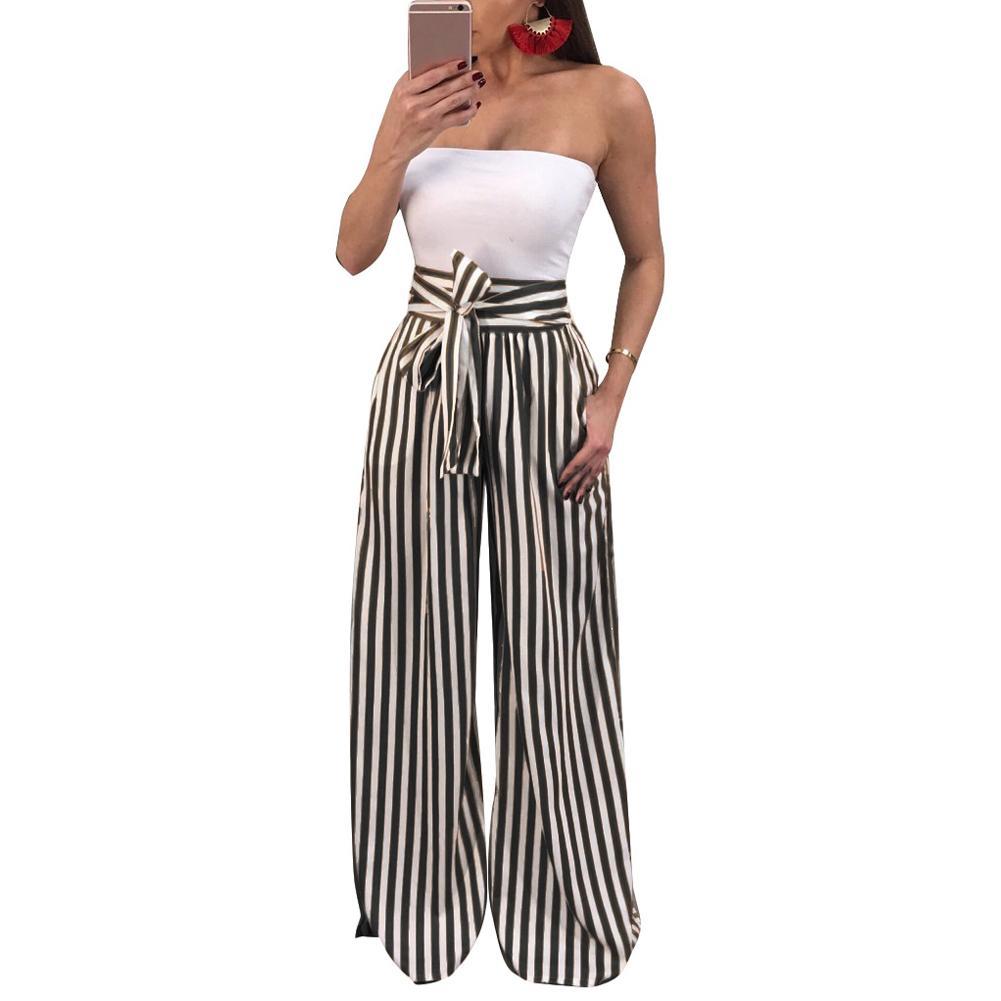 6b4c81b444 Compre Pantalones Anchos De Las Mujeres Contraste Rayas Imprimir Cintura  Alta Recto Pantalon Femme Pajarita Casual Primavera Otoño Pantalones Ropa  De Fiesta ...