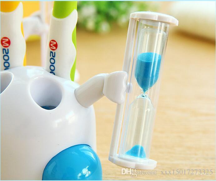 O banheiro de escova de dentes escova de dentes dos desenhos animados banheiro 3 minutos no relógio 4 buracos criativos ornamentos de criança