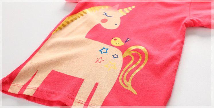 Girls Pony Unicorn Cotton T shirts Kids Classic Brand Short Sleeve Shirt 18 months 2 3 4 5 6 Years Children Summer Clothing