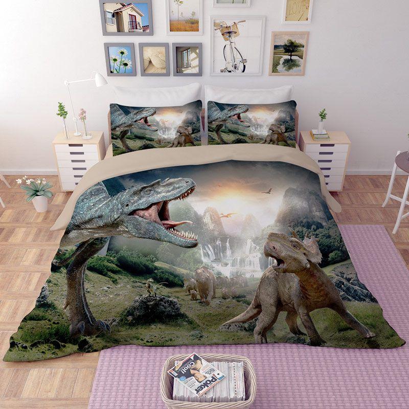 Home Textile Boy 3d Dinosaur Bedding Set Bed Linens Single Double Queen  King Size Duvet Cover Set Children/Adult Bedclothes Cheap Duvet  Contemporary Bedding ...
