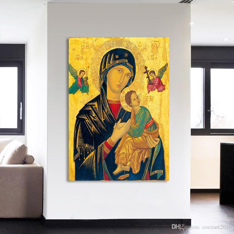 HD Baskılı 1 Parça Tuval Duvar Sanatı Meryem Boyama İsa Hıristiyan Modüler Duvar Sanatı Tuval Baskılar Ücretsiz Kargo NY-7160C