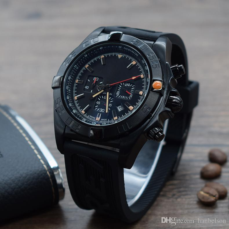 Atacado de Alta Qualidade reloj de lujo Relógios De Pulso De Quartzo Dos Homens Relógios dos homens pulseira de borracha Multifuncional Motor estilo de corrida relógios