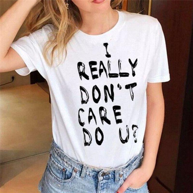 d522d034 I REALLY DON'T CARE DO U? Print Women T Shirt Melania Trump The Same Style  O Neck T-shirt Summer Short Sleeve Top Tee
