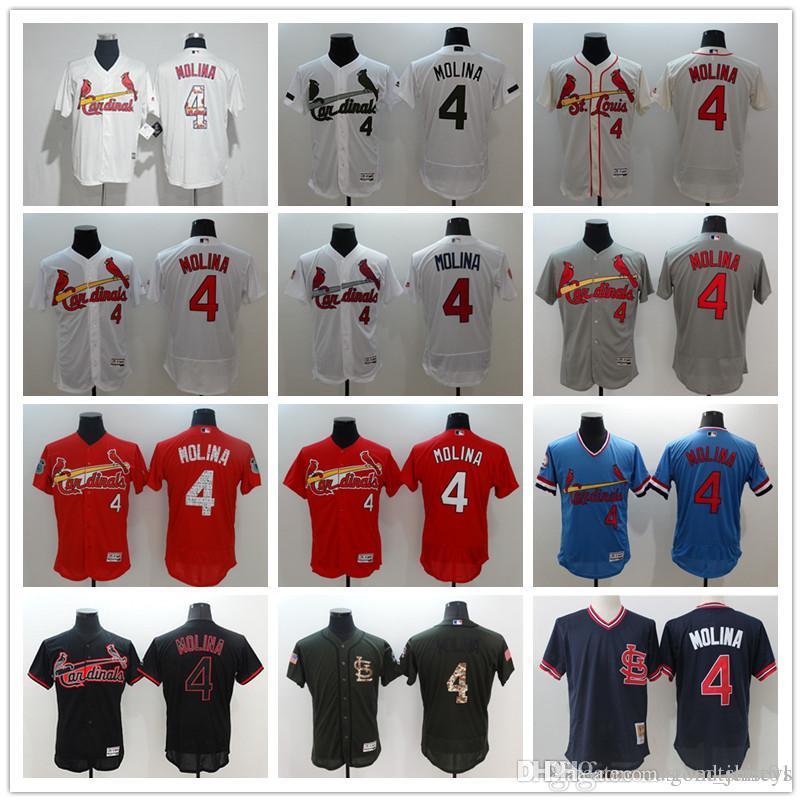 Compre Jerseys De Cardenales Personalizados Hombres Mujeres Jóvenes  Majestuosos SL Cardenales 4 Yadier Molina Inicio Camisetas De Béisbol  Blancas Rojas A ... 7cd7d52a8291a