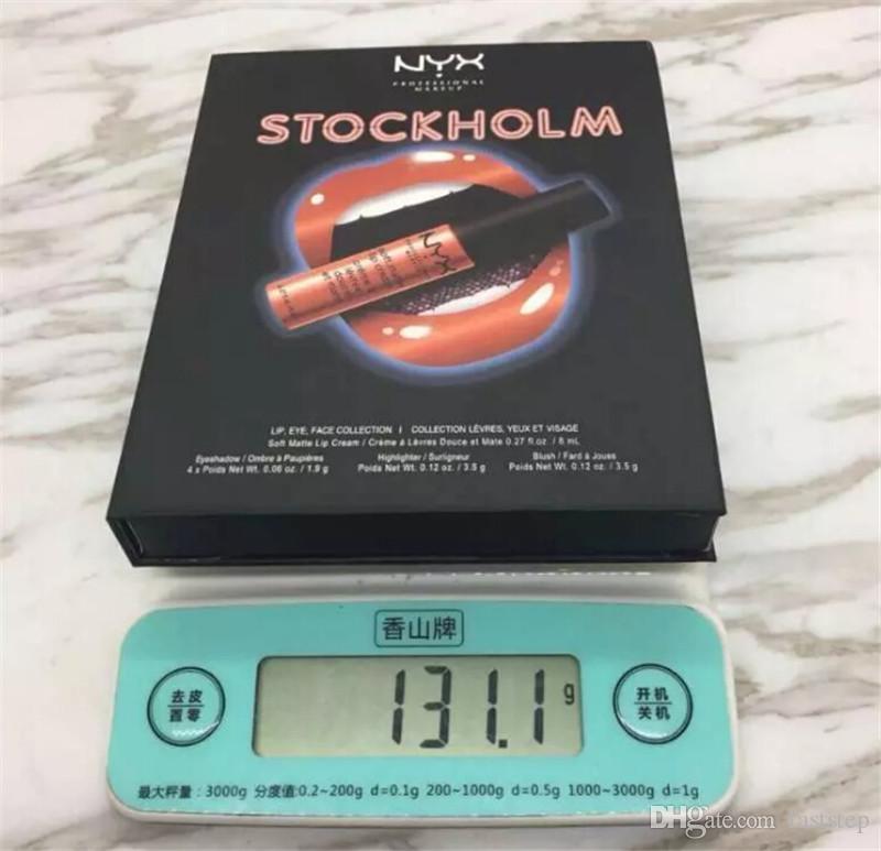 2018 Newest Makeup NYX STOCKHOLM lip eye face collection Soft matte lip cream Highlighter eyeshadow blush Set DHL shipping