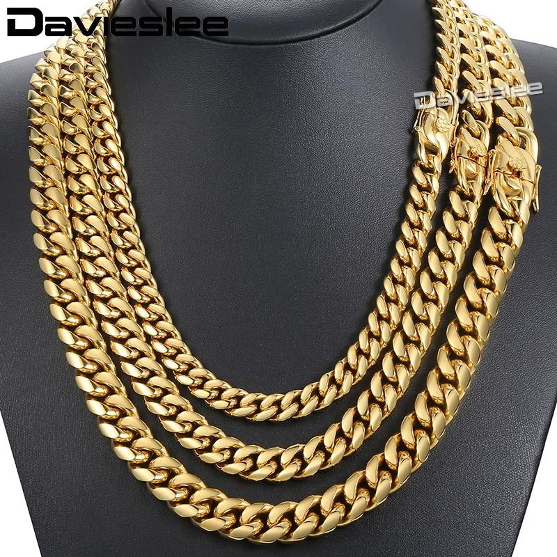 Davieslee Collar para hombre Cadena Miami Curb Cuban Acero inoxidable 316L Hip Hop Plata Oro Color 8/12 / 14mm LHNM19