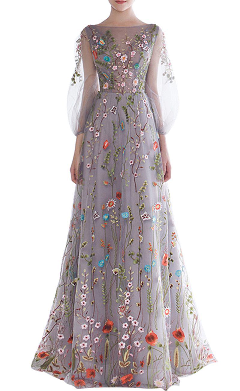 Novo Romântico Floral Bordado Vestidos de Baile Longo Inchado Mangas Barco Pescoço Charmoso Vestidos de Noite Meninas Pageant Vestido