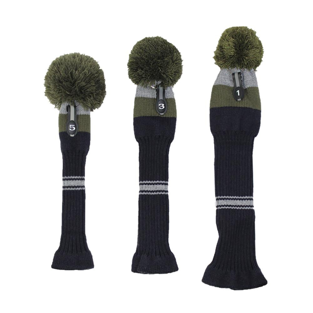 Knit Golf Headcovers Olive Pom Olive/Grey/Navy Blue Big Stripes with ...
