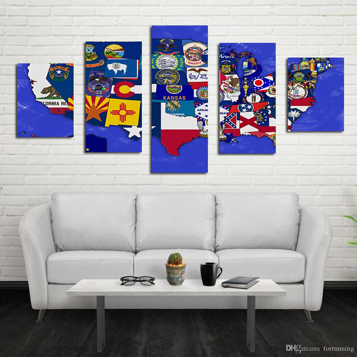 Großhandel Icon American Map Wohnzimmer Schmücken Pinsel Farbe ...