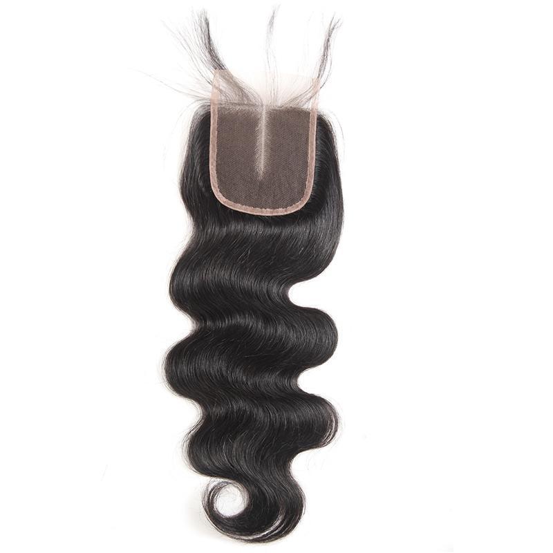 9A Malasia indio peruano brasileño de la Virgen teje la onda del cuerpo del pelo 3 o el cierre de encaje con haz de pelo humano 4 paquetes con el encierro