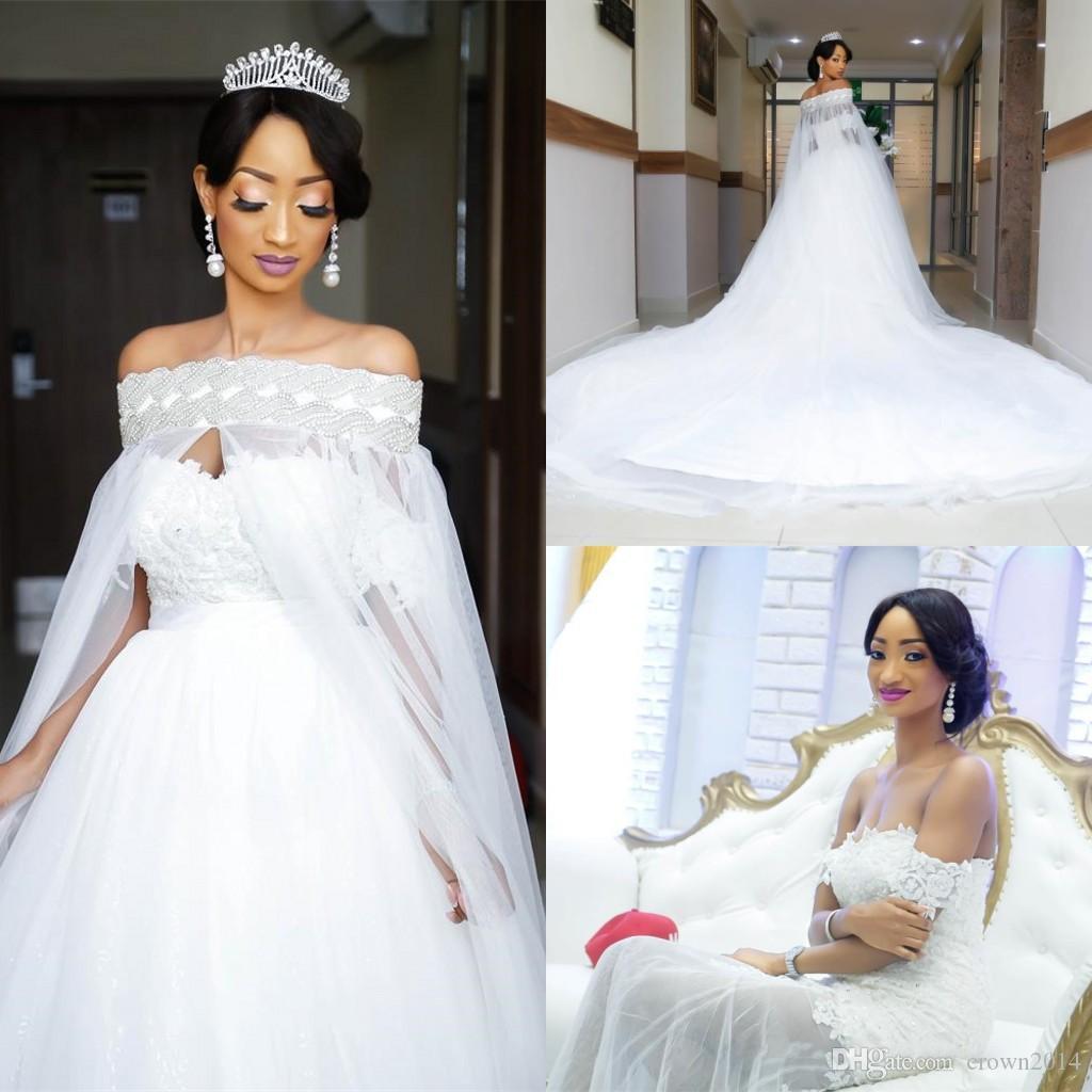 Discount Arabic White Elegant Off The Shoulder Wedding Dresses With