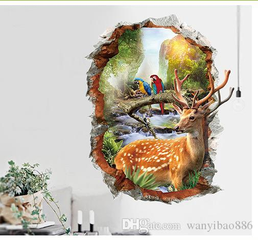 / Venta caliente Sika ciervos Pegatinas de Pared 3d Wall Hole Stickers Autoadhesivo Dormitorio Sofá Fondo Pared Creativa Pegatinas Decorativas.