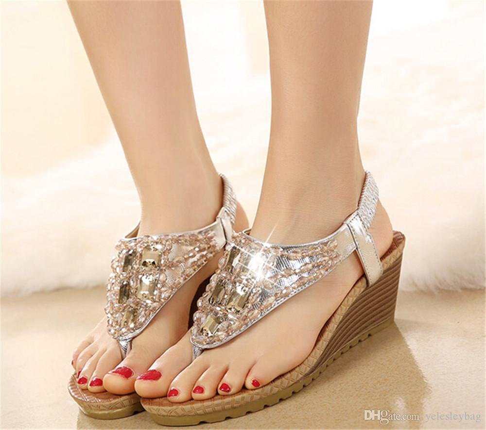 7112e414a Bohemian Sandals Diamond Encrusted Luxury Gold Silver Beach Shoes Crystal  Diamond Wedding Shoes Designer Shoes Women High Heel Groom Dress Wholesale  Shoes ...