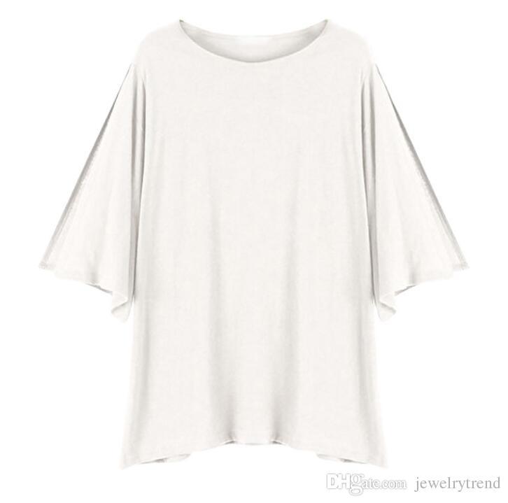 2018 Summer Women's Cotton T-shirt Bat-sleeve Split Sleeve Tops Tee Lady's Casual Tshirts C3314