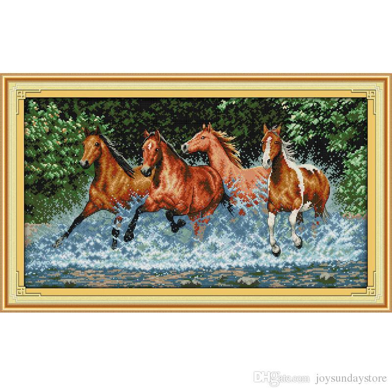 I modelli di cavalli fai da te a mano contati kit punto croce e ricamo a ricamo preciso set DMC 14ct e 11ct