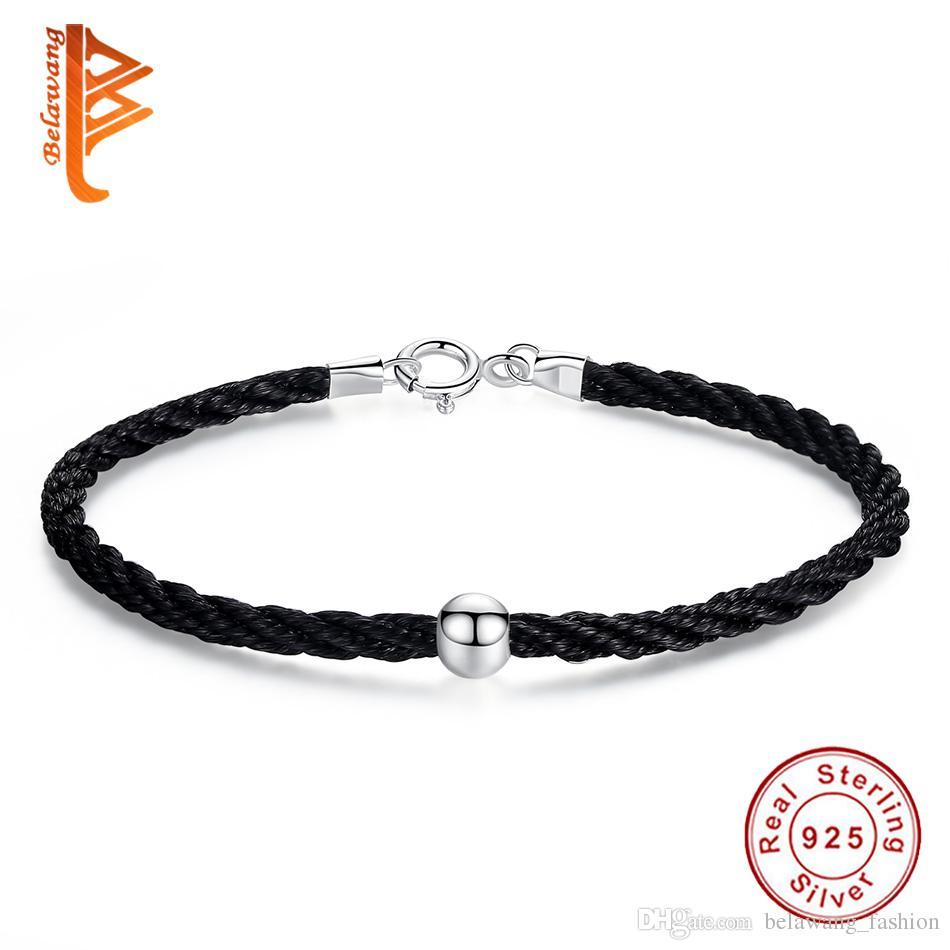 5c71110663 2019 BELAWANG Love Bracelets 100% 925 Sterling Silver Black&Red Thread Rope  Bracelets Bead Charm Bracelet Unique Couple Jewelry From Belawang_fashion,  ...