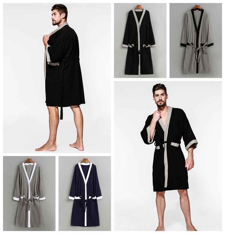 09b1907b44 2019 Waffle Cotton Kimono Bathrobes Sexy Men Robe Three Quarter Solid Color  Soft Breathable Lightweight Long Robe With Belt DDA665 Sleepwear From ...