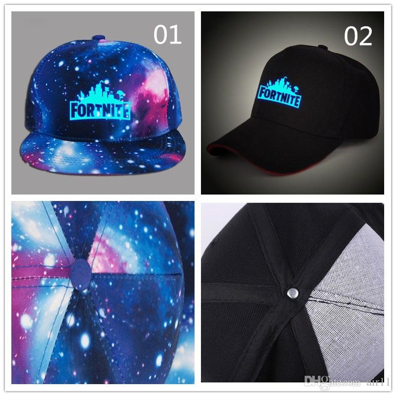 6485a80c8a8 DHL Glow in Dark Children Boy Girl Adult Fortnite Baseball Caps with Blue  Luminous Summer Sun Hat Night Lights Hats For Acrylic Fortnite Baseball Caps  Sun ...