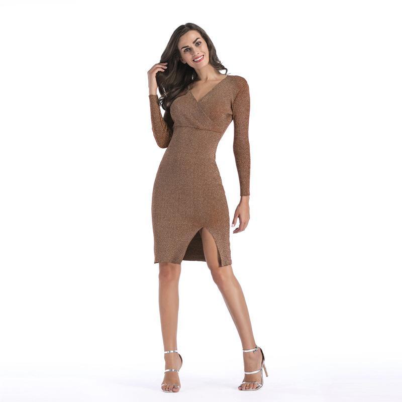 c6654a54ce Compre Afrodite Início Outono Inverno Mulheres Vestidos Sólidos Com Decote  Em V Manga Longa Elegante Camisola De Malha Fina Vestido Dividido Vestido  Senhora ...