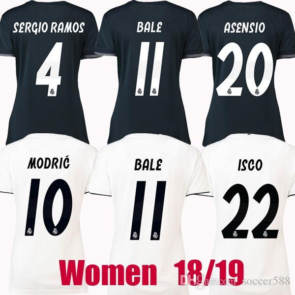 aec366b96758f Mujer Real Madrid 18 19 Camisetas De Fútbol 2018 2019 BALE Camiseta De  Fútbol SERGIO RAMOS VINICIUS JR ASENSIO Real Madrid Camiseta MODRIC Camiseta  De ...