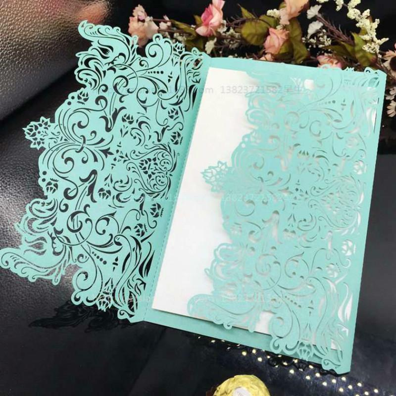 10Pcs Laser Cut Vintage Tiffany Wedding Invitations Card Kit Greeting CardsWedding Bridal Shower Birthday Cards 7Z