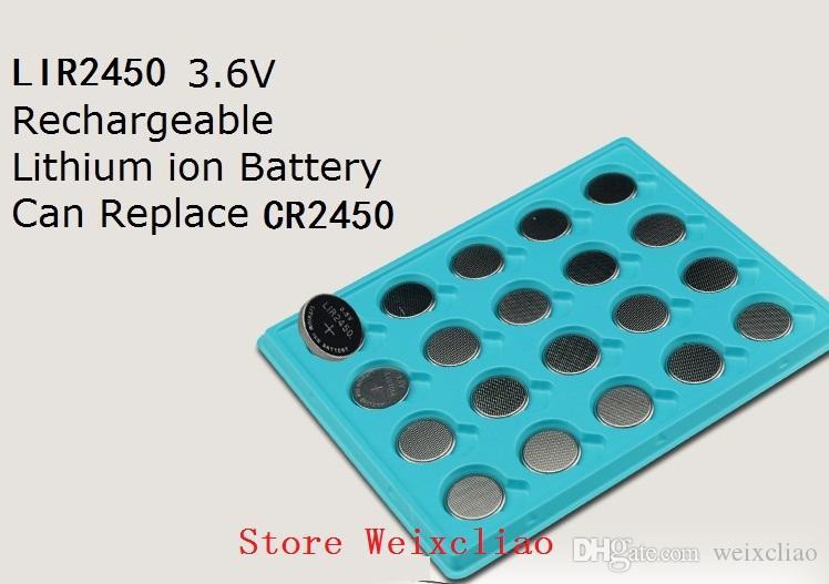 100 قطع 1 وحدة LIR2450 3.6 فولت بطارية ليثيوم أيون قابلة خلية زر 2450 3.6 فولت بطاريات ليثيوم أيون عملة استبدال CR2450 مجانية