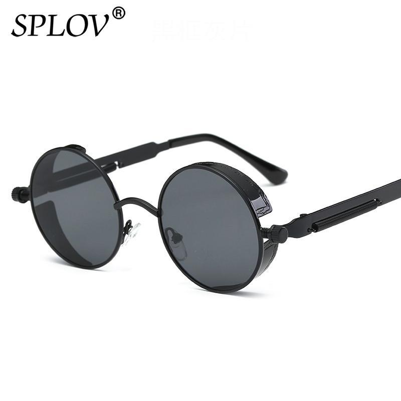 285555446b0 SPLOV Vintage Round Polarized Sunglasses Retro Steampunk Sun Glasses ...