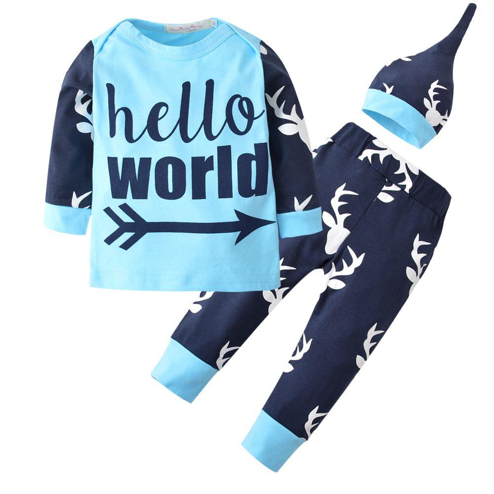 b375fed6debf9 3PCS Autumn Newborn Baby Boys Girls Clothing Sets T-shirt + Printed deer  pants +hat baby boy 3pcs Outfits set