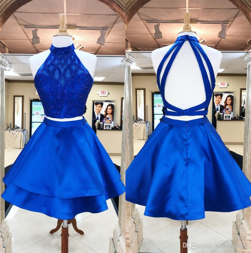 4ac9895a5eb Royal Blue Two Pieces Homecoming Dresses For Juniors Halter Neck A Line  Beaded Short Backless Prom Gowns Satin Cocktail Party Dress Dress Gowns  Dresses For ...