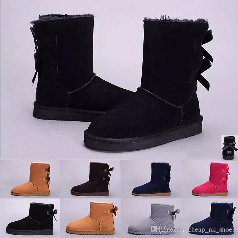 08f5e2527950b Compre UGG Boots Venta Al Por Mayor WGG Invierno Australia Botas De Nieve  Clásicas Botas Altas De Alta Calidad De Cuero Real Bailey Bowknot De Las  Mujeres ...