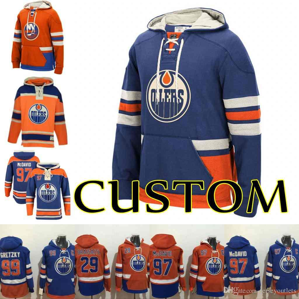 2bfa1a8163f 2019 Mens Edmonton Oilers Custom Connor McDavid 29 Leon Draisaitl 44 Zack  Kassian 93 Ryan Nugent Hopkins Hoodie Stitched Sweatshirt From  Jerseyoutlets, ...