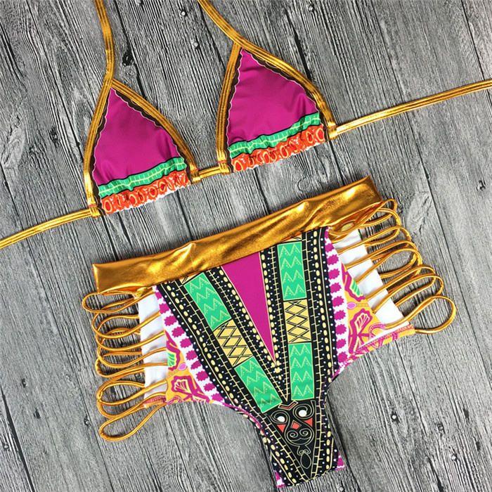 2018 summer swimwear new South African bronzing bikini swimsuit high waist character printing quality bikini bathing suit