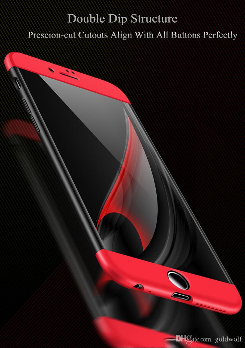 New 3 in 1 Matte Shell 360 Degree Phone Case Frosted Hybrid Slim Defender Back Cover For iPhone XS Max XR X 8 plus Samsung Note9 S10