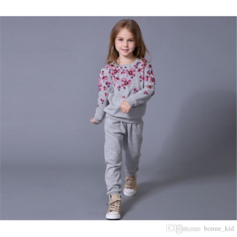 ea29e25fd6e51 Acheter Fleur Enfants Bébé Filles Tenues Vêtements Sport Hauts + Pantalons  Longs Ensemble Boutique Marchandises Gris Coton Enfant Fille Vêtements  Ensemble ...