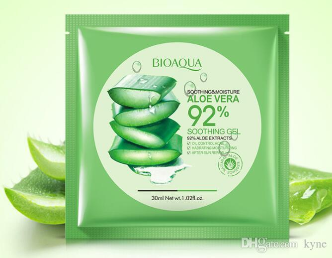 New arrivalBIOAQUA Natural Aloe Vera Gel Face Mask Moisturizing Oil Control Wrapped Mask Shrink Pores Facial Mask Cosmetic Skin Care